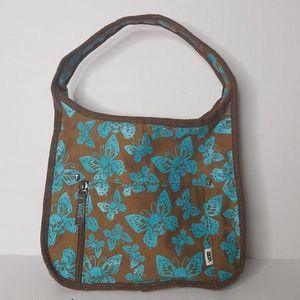 VANS Purse Hand Bag Brown Blue Butterfly Skulls